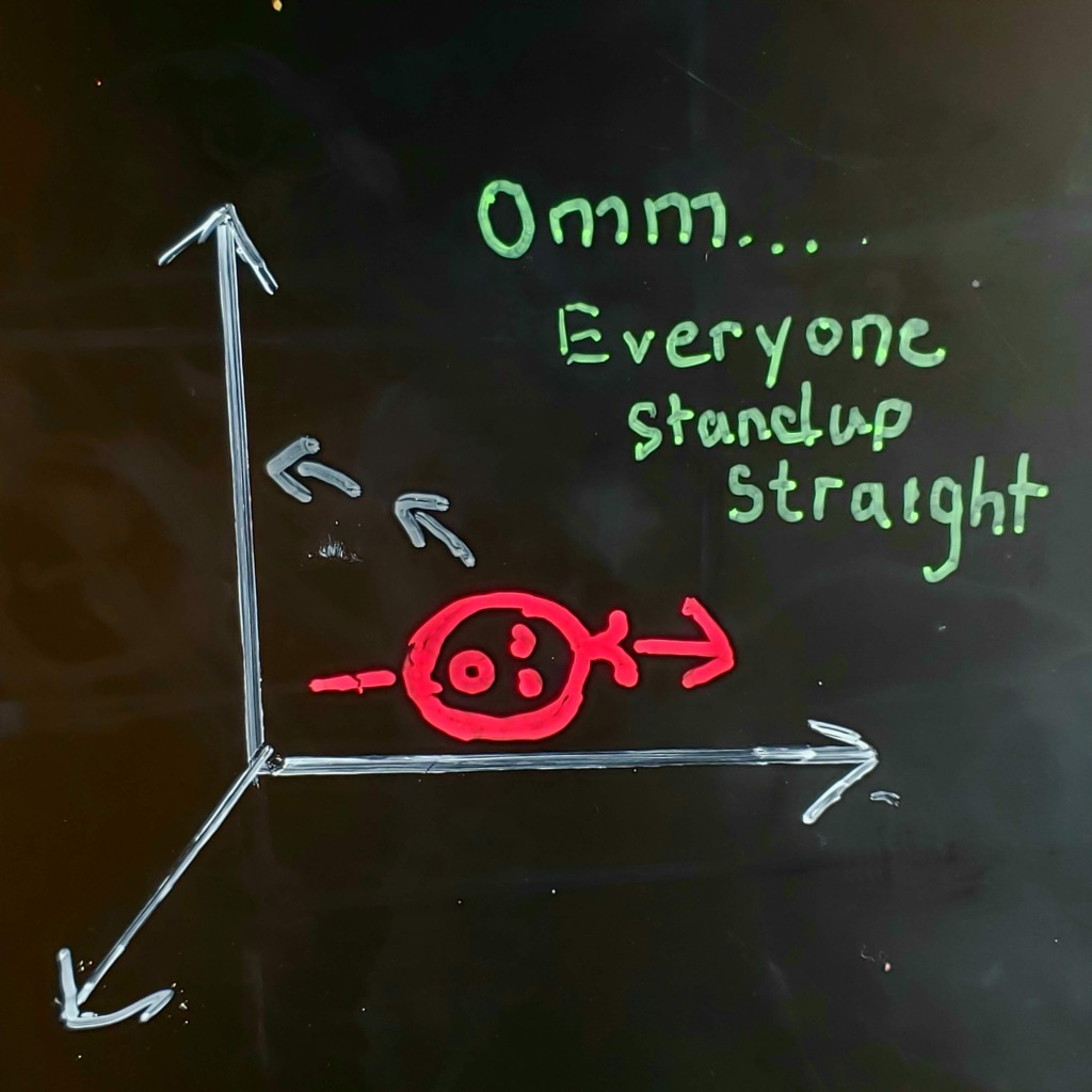 There are three axis lines: XYZ, Between Y and Z, is a drawing of a face with an arrow through it that is parallel to the y-axis. There are two arrows going from the head towards the Z--axis indicating that the head is in motion.  There is a handwritten caption that says:  Ommm...everyone stand-up straight.